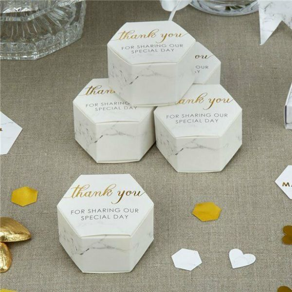 Scripted Marble Wedding Favour Boxes 10 pk